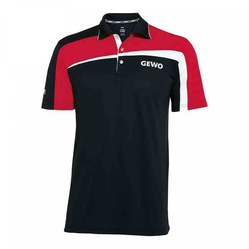 T-Shirt Gewo Teramo S18-1 Microfiber Noir et Rouge